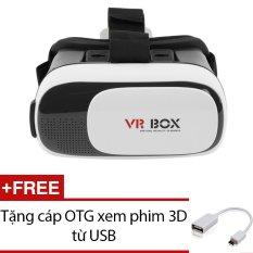 Kính thực tế ảo VR Box phiên bản 2 ( Trắng) + Tặng cáp OTG xem Phim 3D từ USB