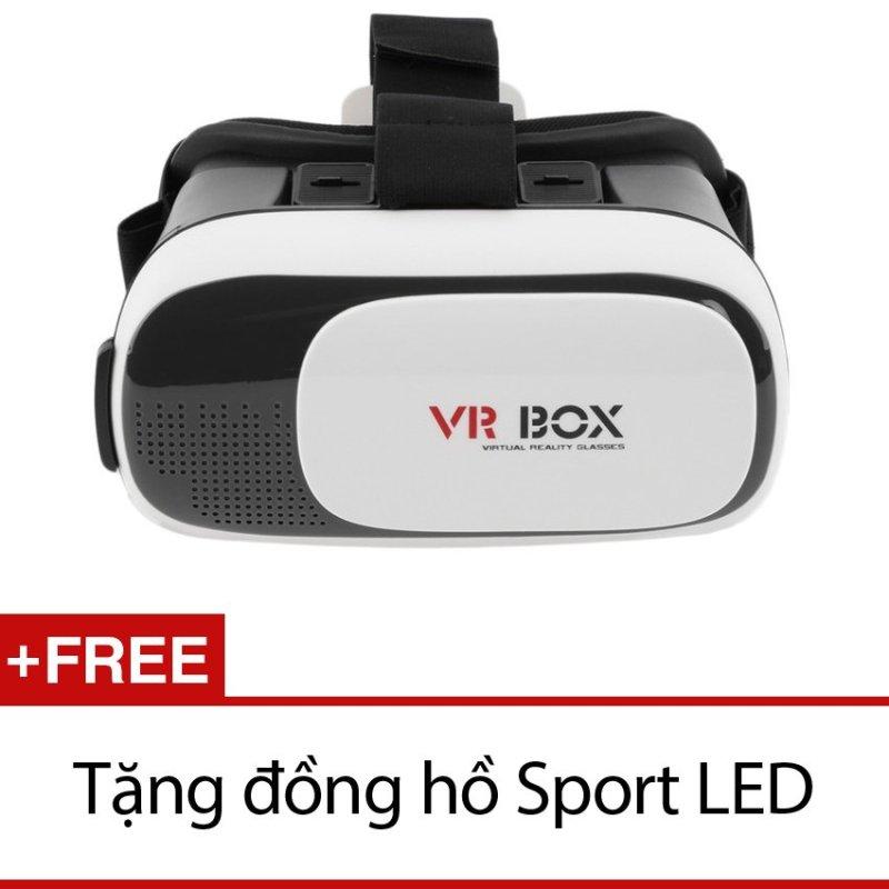 Nơi bán Kính xem phim 3D VR Box ver 2.0 (Đen) + Tặng đồng hồ Sport LED
