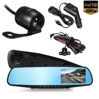 LCD Screen Dual Lens Reverse Mirror Car DVR Camera Monitor Driving Recorder - intl