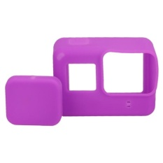 Nơi bán Lens Cap Cover + Silicone Housing Case Protector For Gopro5(Purple) – intl uy tín