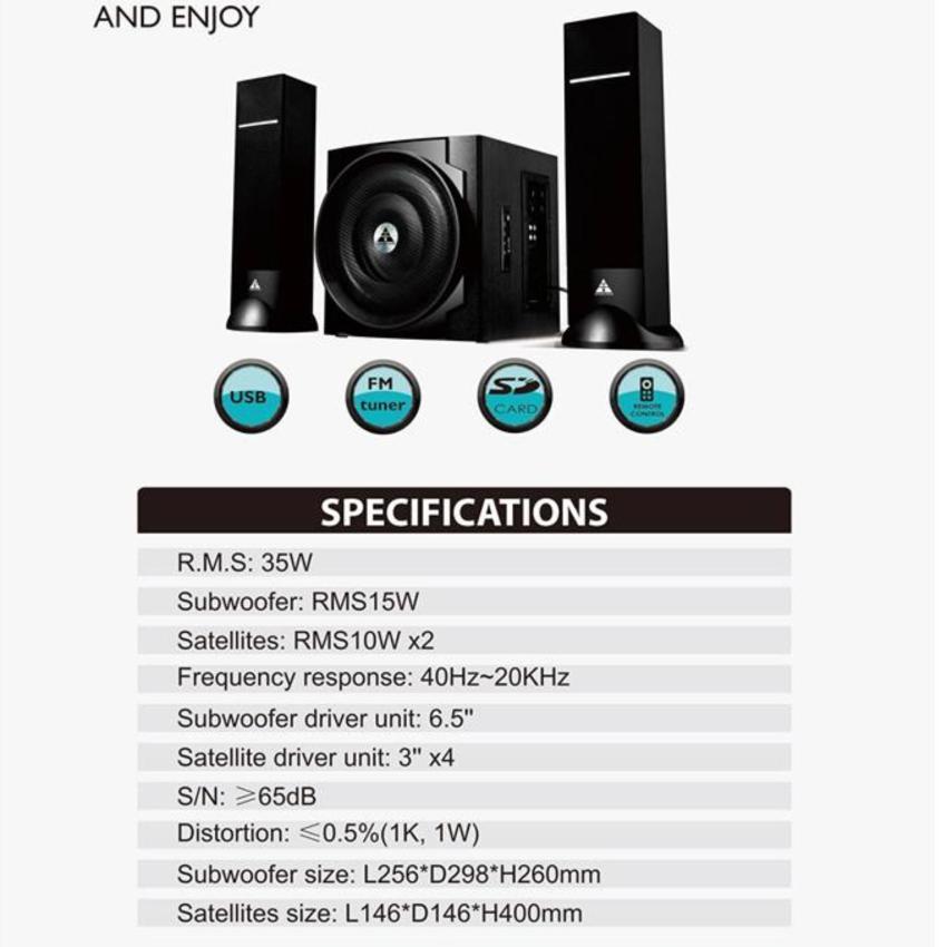 Loa Golden Field H308 HIFI/2.1(usb, Bluetooth,SD,FM)
