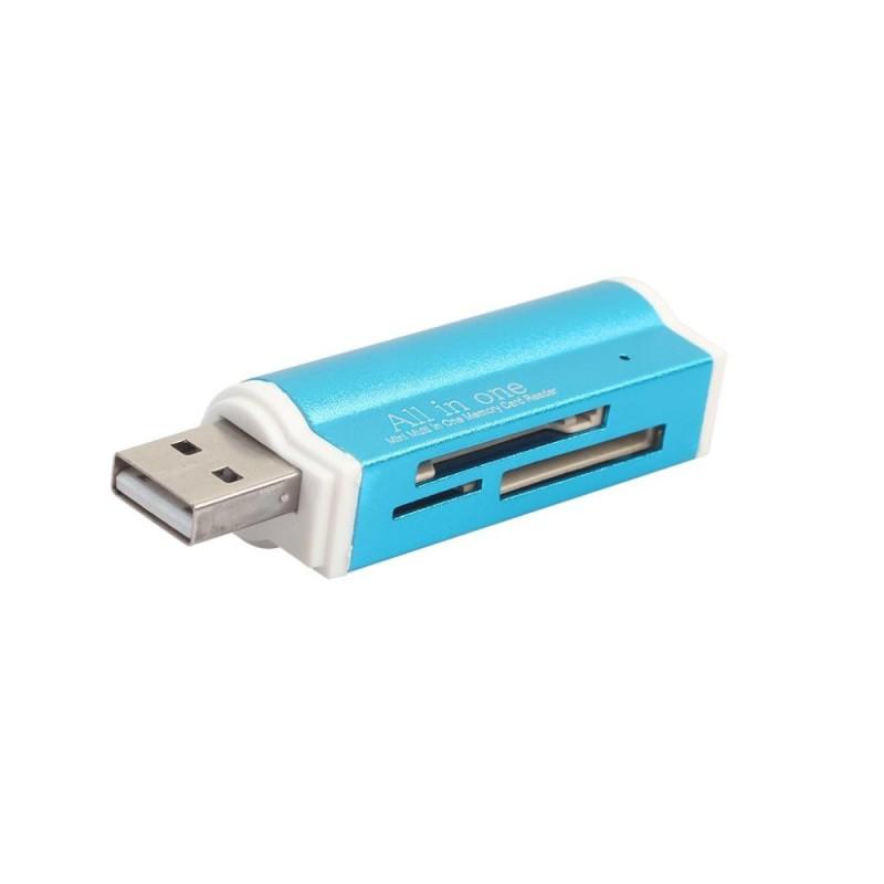 Bảng giá MagiDeal SD Card Reader USB 2.0 Card Hub Adapter Read 4 Cards Simultaneously CF, CFI, TF, SDXC, SDHC, SD, MMC, Micro SDXC, MicroSD, Micro SDHC, MS for Windows, Mac, Linux, Blue - intl Phong Vũ