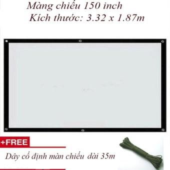 Màn chiếu 150 inch Kích thước: 3.32 x 1.87mcao cấp cho quán cafe + Tặng 35m dây cố định màn...