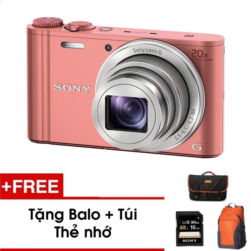 Máy ảnh KTS Sony Wx350 18.2MP và zoom quang 20x (Hồng) - Tặng thẻ nhớ - Túi - Balo du lịch Sony -  Hàng phân phối chính hãng