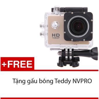 Máy ảnh Mini chống nước chuẩn FULL HD (Đồng) + Tặng 1 gấu bông siêukute NVPRO