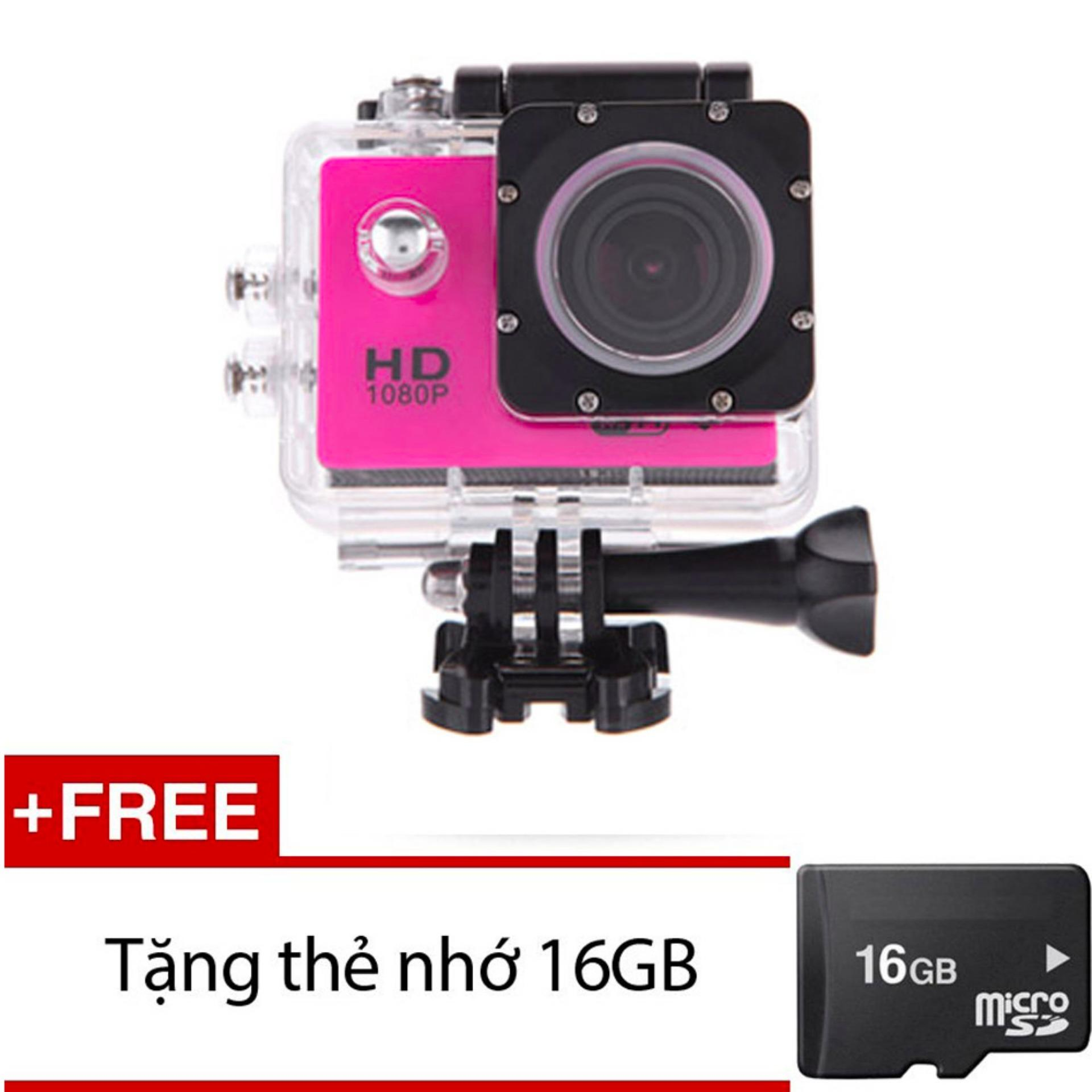 Máy ảnh Mini chống nước chuẩn FULL HD (Hồng) + Tặng 1 thẻ nhớ 16GB