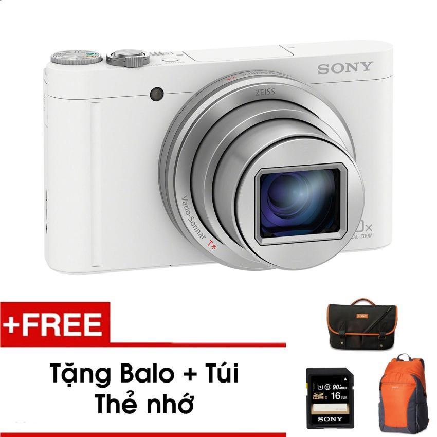 Máy ảnh nhỏ gọn WX500 với Zoom quang học 30x (Trắng) - Tặng thẻ nhớ - Túi - Balo du lịch Sony - Hàng phân phối chính hãng