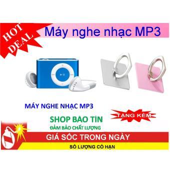 Máy nghe nhạc MP3 2017 vỏ nhôm xanh tặng kèm giá đỡ điện thoại hìnhchiếc nhẫn