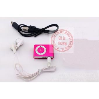 Máy nghe nhạc MP3(đỏ) vỏ nhôm kẹp áo+ tai nghe nhét tai +cáp sạc