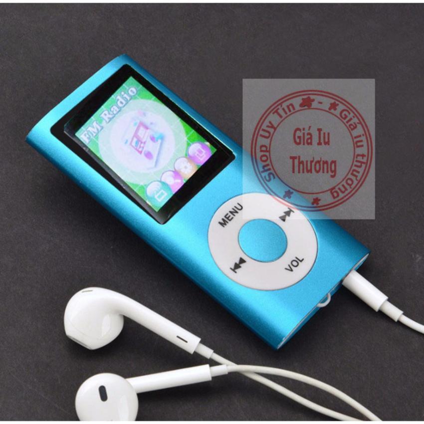 Máy Nghe Nhạc Mp4(nghe được FM radio)+ cáp sạc+ tai nghe nhét tai(màu bạc,có loa ngoài)
