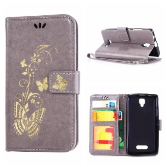 Mooncase Bronzing Butterfly PU Leather Case For Lenovo A2010 Grey -intl