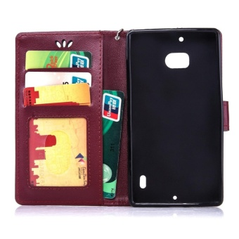 Mooncase Bronzing Butterfly PU Leather Case For Nokia Lumia 930Burgundy - intl .