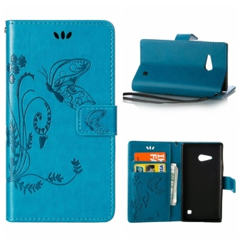 Mooncase Vintage Embossed Flip Leather Wallet Cover For Nokia Lumia730 Blue - intl