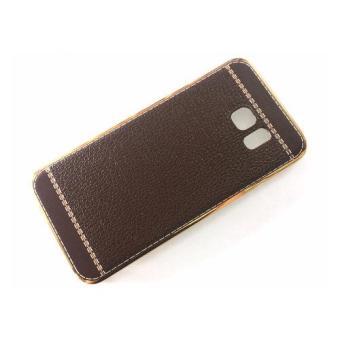 Ốp lưng dẻo viền vàng lưng giả da cho Samsung Galaxy S6 Edge