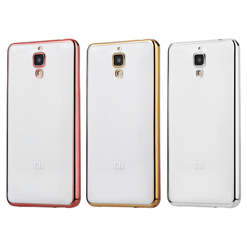 Hình ảnh Ốp lưng silicon Xiaomi Mi4 viền vàng (Trắng phối vàng)