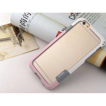 ốp viền cao su cho Iphone 6 Plus tặng kính cường lực(Trắng _Hồng)