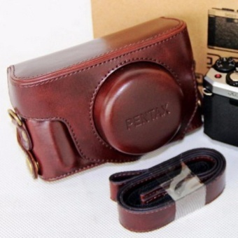 PU Leather Camera Bag Case Cover Pouch with Shoulder StrapforPentaxMX1 - intl