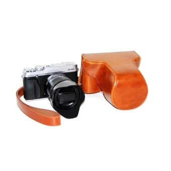 PU Leather Camera Case Bag Cover for Fujifilm X-E1 X-E2 Brown -intl