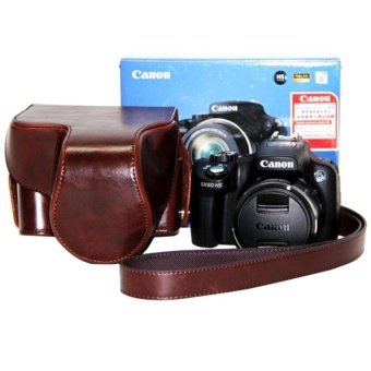 PU Leather Camera Case Bag Cover with Shoulder Strap forCanonSX50HS - intl