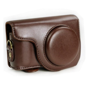 PU Leather Camera Case Bag Cover with Strap forNikonP300/310/320(Coffee) - intl
