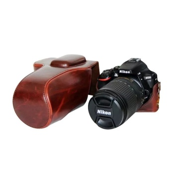 PU Leather Camera Case Bag Cover with Tripod Design for NikonD5500(Coffee) - intl
