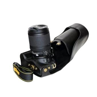 PU Leather Camera Case Bag Cover with Tripod Design forNikonD5500(Black) - intl