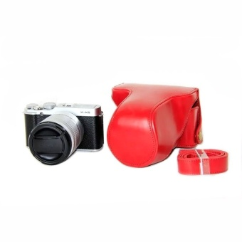 PU Leather Half Camera Case Bag Cover Base for Fujifilm XM1 XA1XA2(Red) - intl