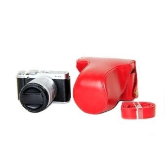 PU Leather Half Camera Case Bag Cover Base for FujifilmXM1XA1XA2(Red) - intl