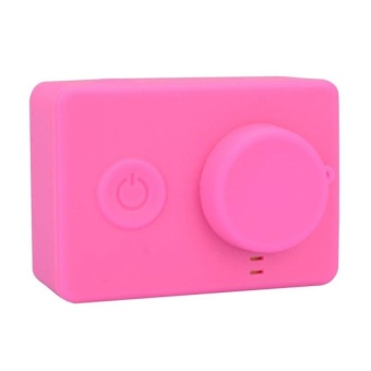 Rubber Skin Protective Housing Cover With Lens Cap Pink ForxiaomiyiAction Camera - intl