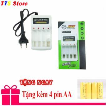 Sạc pin SZT cho pin AA và AAA + Tặng thêm 4 pin AA