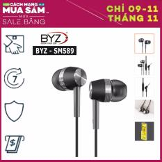 Tai nghe BYZ SM589 nhét tai siêu Bass (Trắng/Đen)