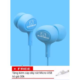 Tai nghe nhét tai Easy Bear Pease Series Super Bass (Xanh) + Tặngkèm dây cáp rút USB trị giá 30K