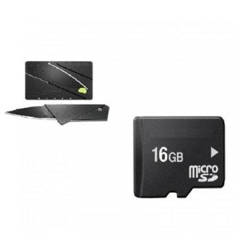 Thẻ nhớ 16GB + Dao gấp hình thẻ ATM Atm Card (Đen) shopping