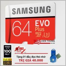 Thẻ nhớ 64gb Micro Samsung Evo plus U3 up to 100MB/s (Đỏ) + Tặng 01 đầu đọc thẻ nhớ Micro PT
