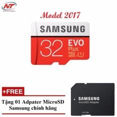 Thẻ nhớ MicroSDHC Samsung Evo Plus 32GB UHS-I U1 95MB/s - Model 2017 (Đỏ) + Tặng MicroSD Adapter Samsung 32GB.