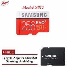Thẻ nhớ MicroSDXC Samsung Evo Plus 256GB UHS-I U3 95MB/s - Model 2017 (Đỏ) + Tặng MicroSD Adapter Samsung 256GB.