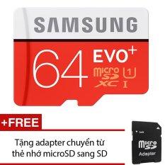 Thẻ nhớ MicroSDXC Samsung EVO Plus 64GB 80MB/s (Đỏ) +Tặng 1 adapter chuyển từ thẻ nhớ microSD sang SD