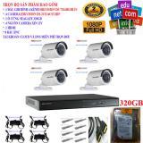 Hình ảnh Trọn bộ 1 đầu ghi hình Camera 4 kênh cao cấp DS-7204HGHI-F1+ 4 Camera HD DS-2CE16C0T-IRP+1 ổ cứng Seagate 320GB+4 Nguồn nhện xịn 12V+8 Rắc BNC+1 dây HDMI