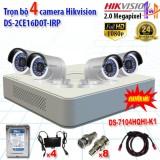 Hình ảnh Trọn bộ 4 camrea 2.0MP DS-2CE16D0T-IRP + DS-7104HQHI-K1 4 nguồn camera 12V, 8 jack BNC, 1 dây tín hiệu HDMI nối đầu ghi và màn hình tivi
