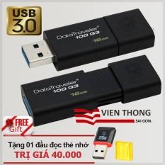 USB 3.0 16GB Kingston DataTraveler 100 G3 (Đen) – Hãng Phân phối chính thức + Tặng đầu đọc thẻ nhớ Micro( mẫu ngẫu nhiên)