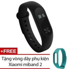 Vòng đeo tay Xiaomi Miband 2 (Đen) + Tặng dây đeo Xiaomi Miband 2 (Xanh)