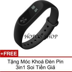 Vòng đeo tay Xiaomi Miband 2 (Đen) + Tặng Móc khoá Đèn pin 3in1 Soi Tiền Giả