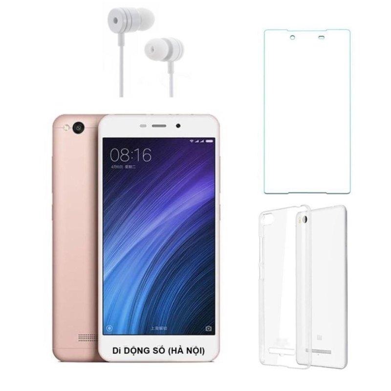Xiaomi Redmi 4A 16G (Hồng) + Ốp lưng + Kính cường lực + Tai nghe- Hàng nhập khẩu