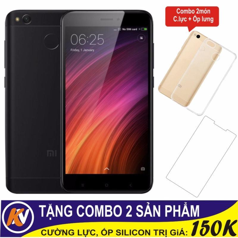 Xiaomi Redmi 4X 16GB Ram 2GB Kim Nhung (Đen) + Cường lực + Ốp Silicon - Hàng nhập khẩu