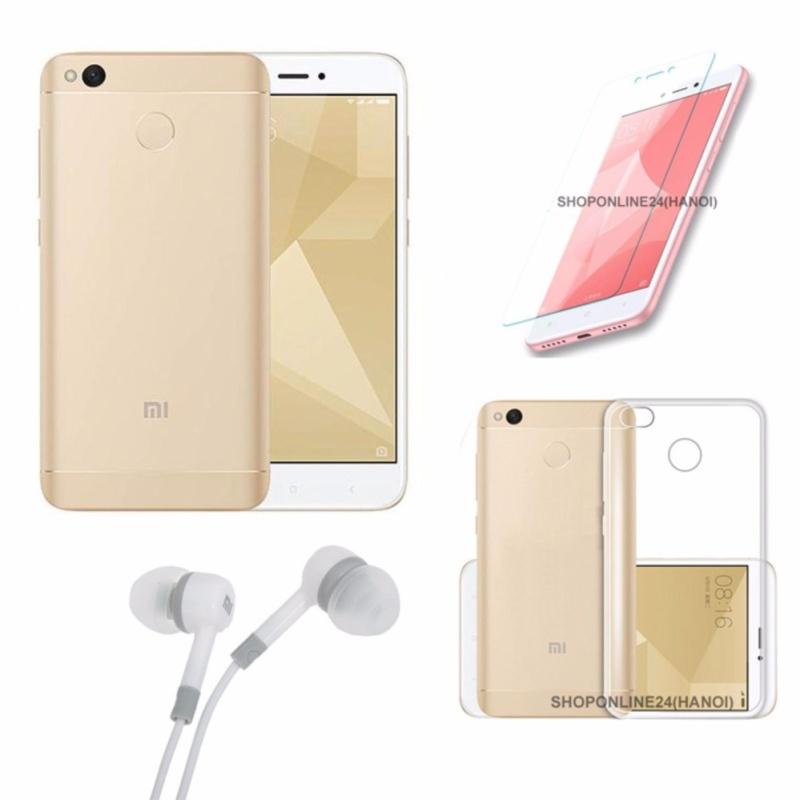 Xiaomi Redmi 4X 16GB (Vàng) + Ốp Lưng + Kính Cường Lực + Tai Nghe - Hàng nhập khẩu
