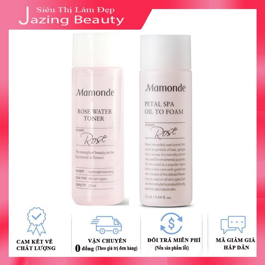 Combo Sữa Rửa Mặt Mamonde + Nước Hoa Hồng Mamonde Rose Water Toner Không Cồn Cho Mọi Loại Da 25ml x 2