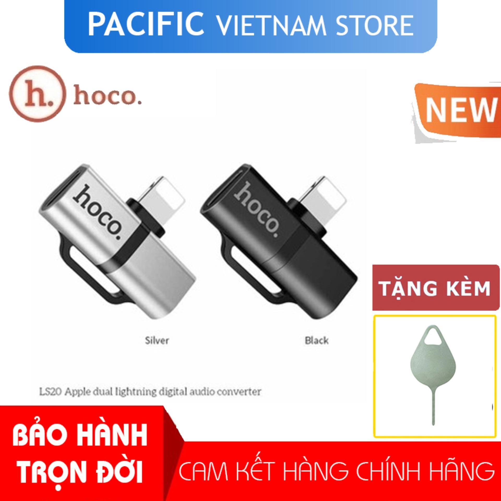 Jack Chuyển Đổi Hoco LS20 Cho Tai Nghe + Sạc Điện Thoại 2 Cổng Lightning Cho IPhone7/8/Plus/X/XS/MAX