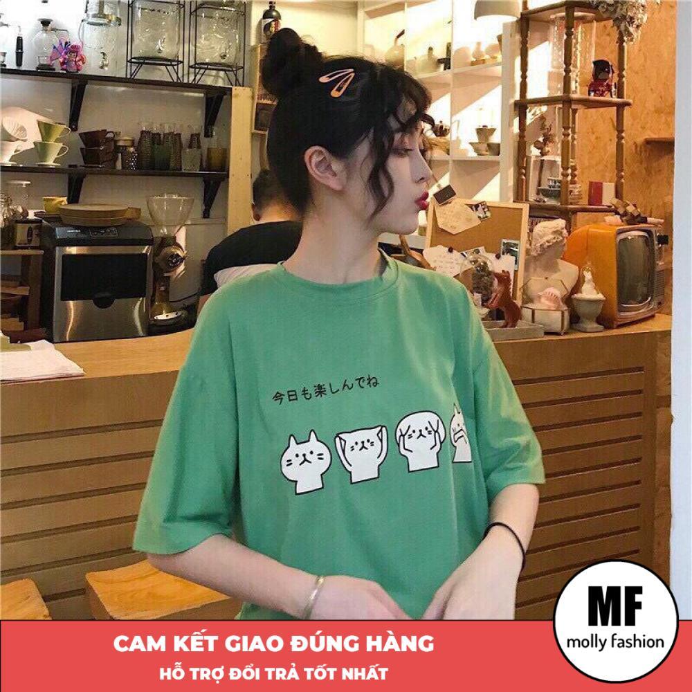 Áo phông, áo thun nam nữ form rộng tay lỡ Giấu Quần Mèo 4 sắc thái Freesize 70kg Molly Fashion ML141