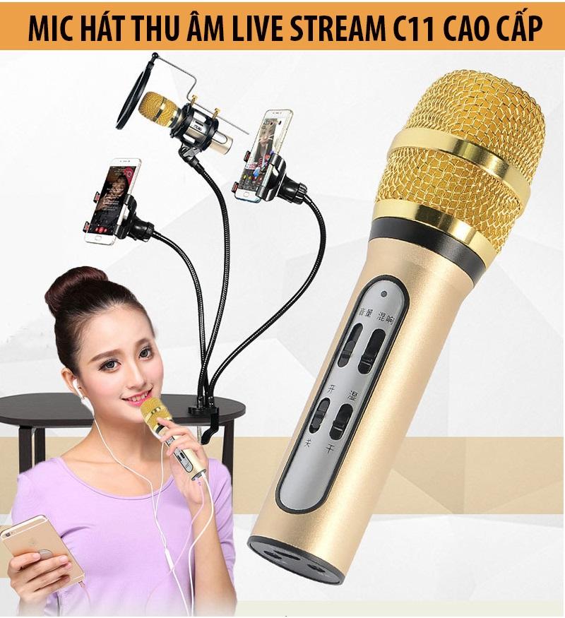 Hình ảnh Micro Hát Hay Nhat Hiện Nay C11 Hát Karaoke Livestream Bán Hàng Mic Thu Âm Loại Xịn Chất Lượng Cao Cho Điện Thoại Máy Tính Livestream Online Cực Hay