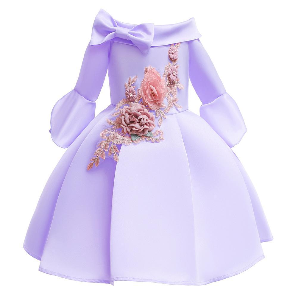 Xiziy Bé Gái Thêu Đầm Công Chúa Trẻ Em Ôm Vai Vừa Tay Cô Gái Váy Hoa Văn Thời Trang Hàn Quốc Trang Phục